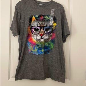 Delta Apparel Watercolor Cat Graphic Tshirt